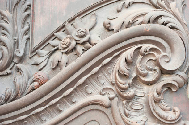 close-up of a decorative door - art nouveau stock photos and pictures
