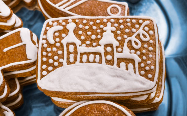 Close-up of a decorative sweet Christmas gingerbread with a painted church stock photo