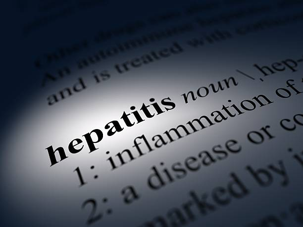 Close-up of a dictionary definition of hepatitis stock photo
