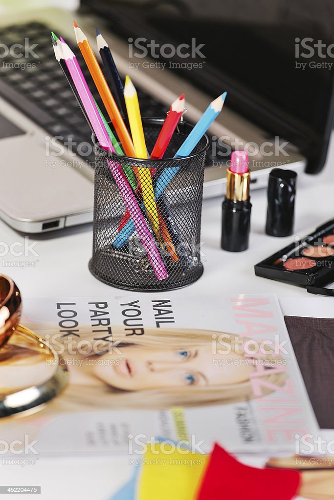Closeup of a different pencil's colour in fashion desk. stock photo