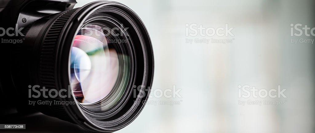 Close-up of a digital camera. Large copyspace - foto de stock