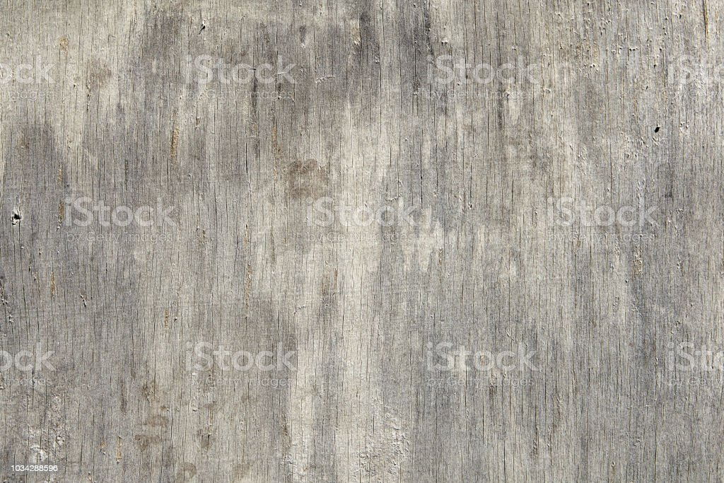 Close-up of a dilapidated plywood sheet with cracks and scratches. stock photo