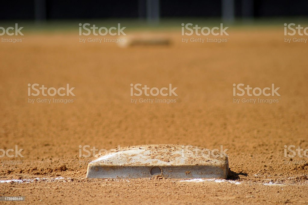 A close-up of a dirty baseball field royalty-free stock photo