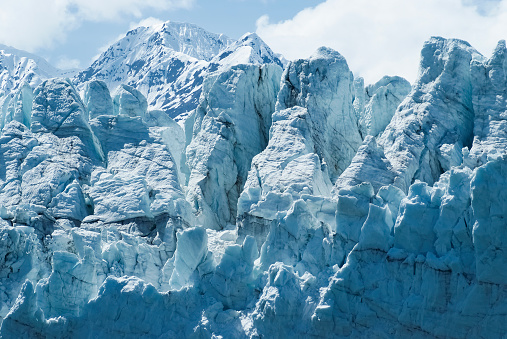 istock Close-up of a distinctive ice formation on the face of the Margerie Glacier 884517924