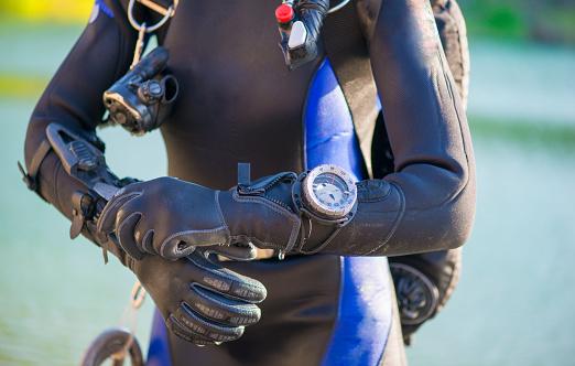 closeup of a divers's gear