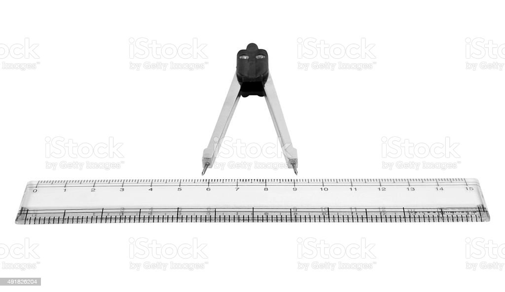 Close-up of a divider and a ruler stock photo