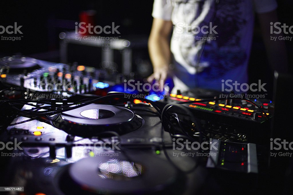 Closeup of a DJ's turntable and soundboard stock photo