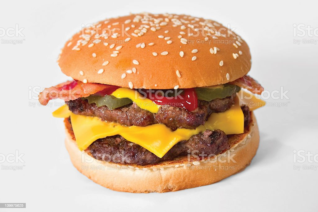 Close-up of a double bacon cheeseburger stock photo