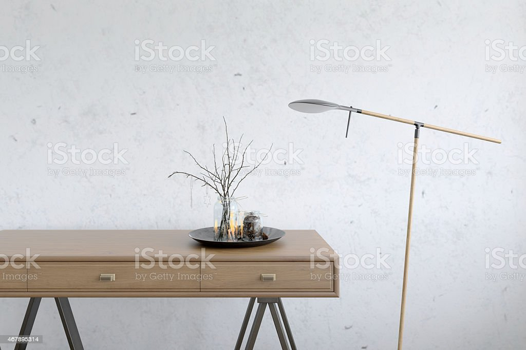 Closeup of a drawer wooden table with decoration stock photo
