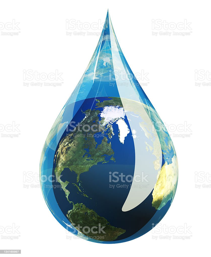 Close-up of a drop of water with an Earth design stock photo