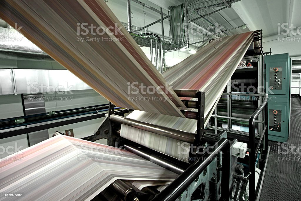Close-up of a empty printing press stock photo