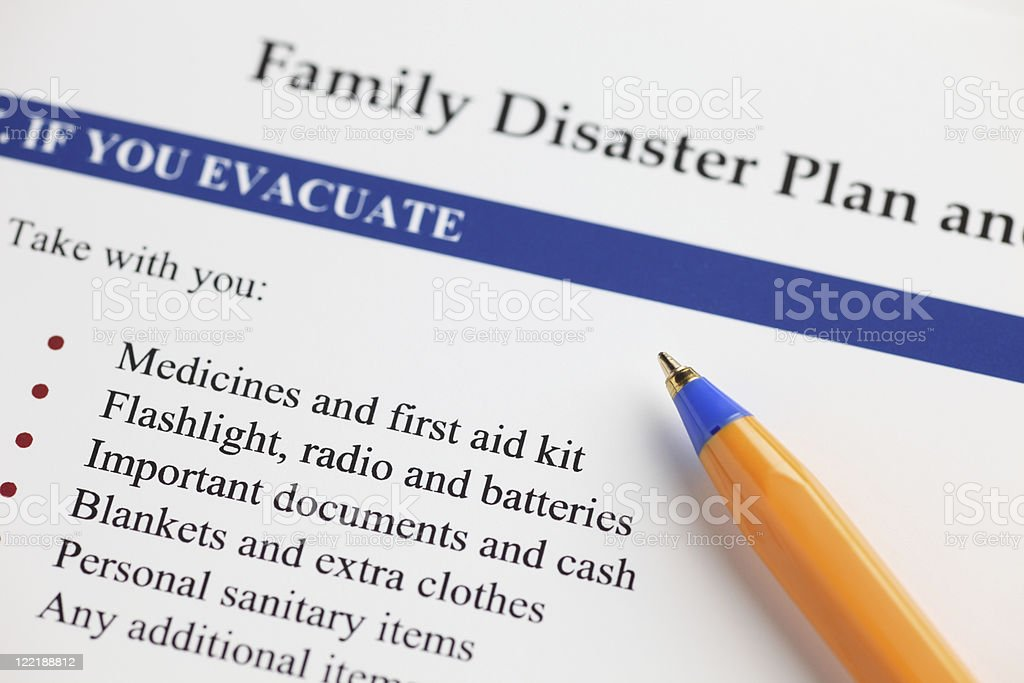 A close-up of a family disaster plan stock photo