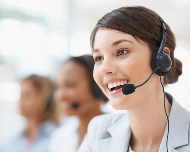 Closeup of a female customer service representative stock photo
