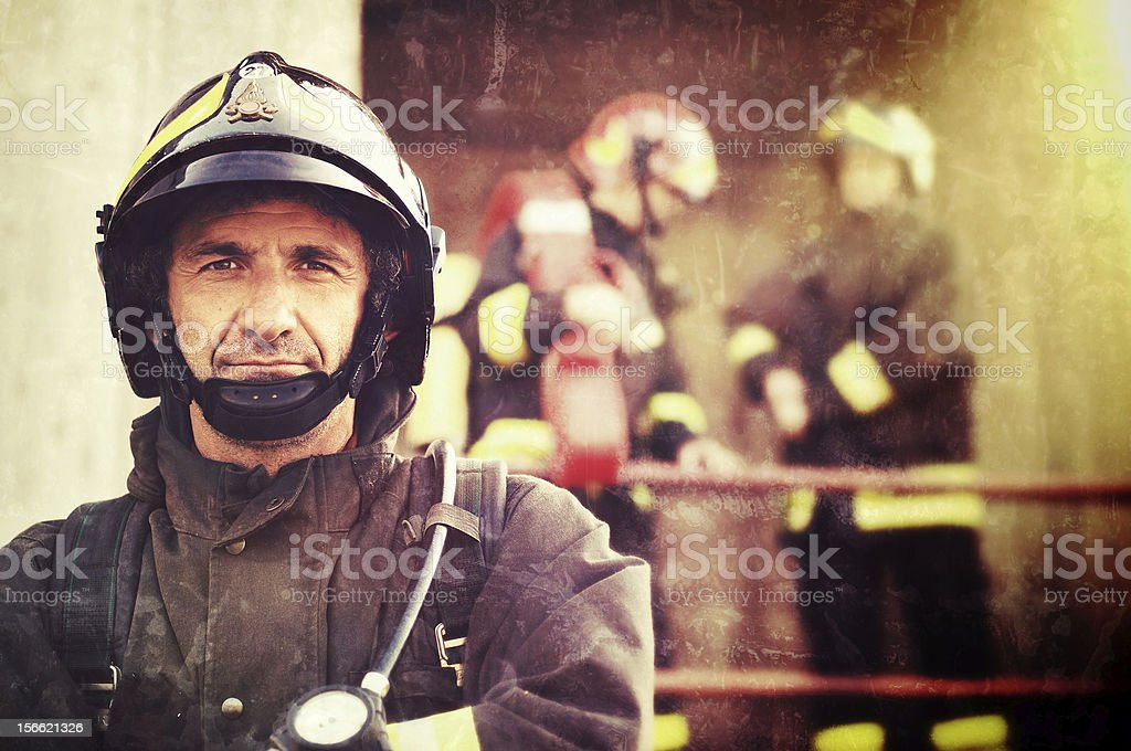 Close-up of a Firefighter stock photo