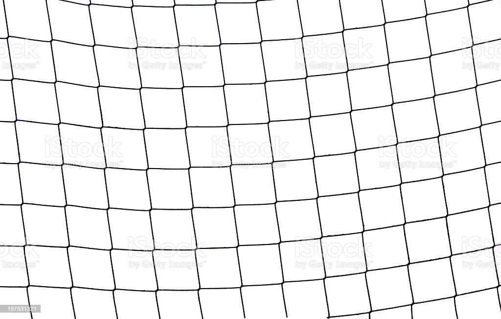 Close-up of a football soccer net on  a white background. stock photo