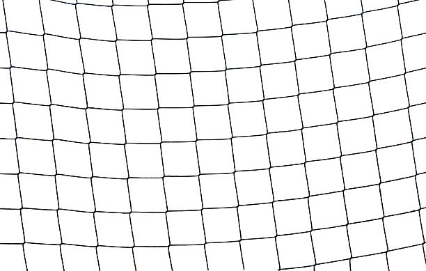 Close-up of a football soccer net sobre un fondo blanco. - foto de stock