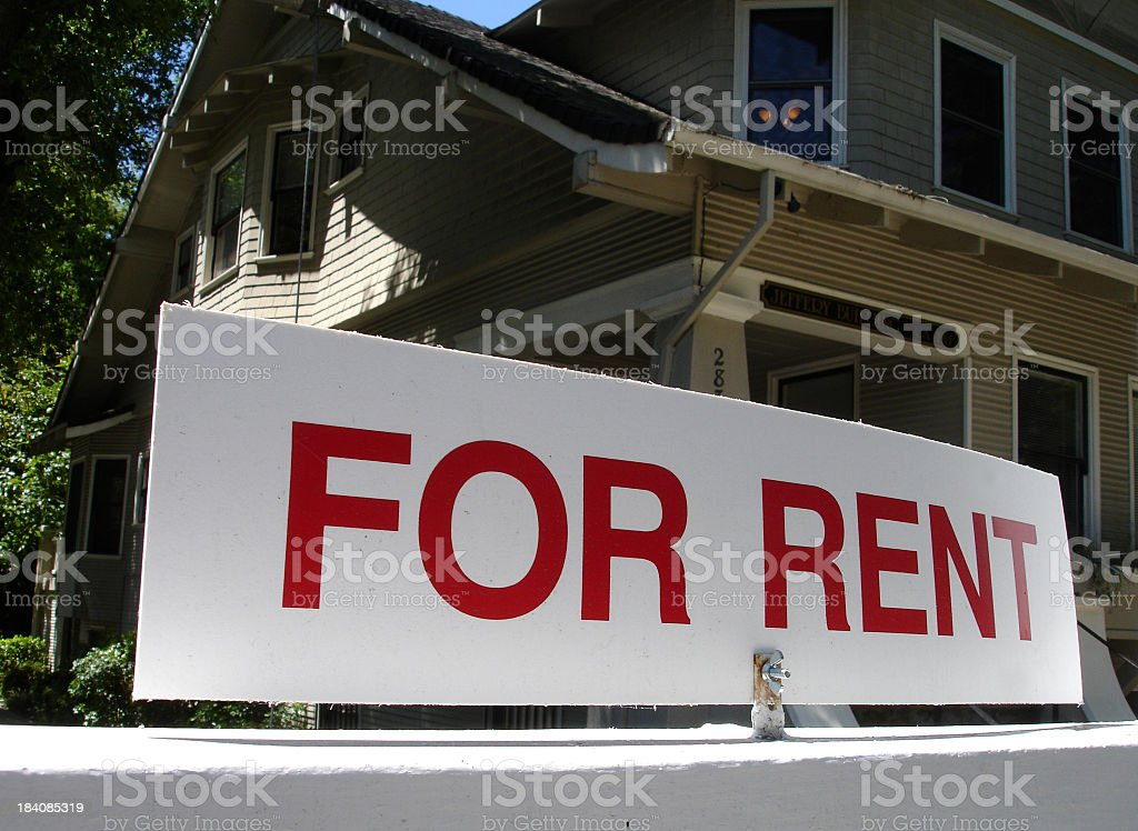 A close-up of a for rent sign in front of a California house stock photo