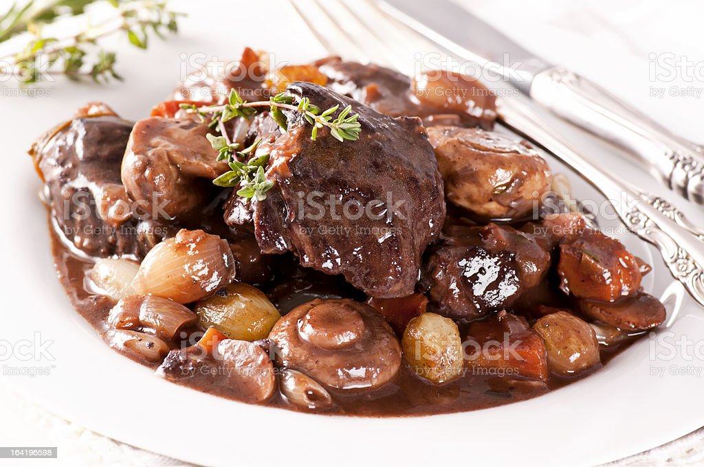 A Closeup Of A French Dish Called Boeuf Bourguignon Stock Photo