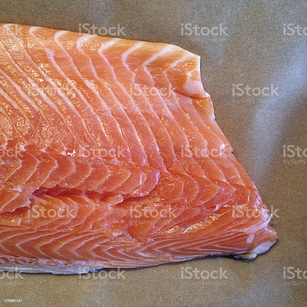 Close-up of a Fresh Salmon Fillet stock photo