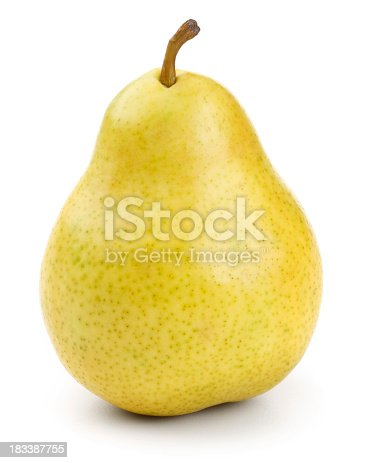 Fresh pear fruit isolated on a pure white background.Includes accurate clipping path.