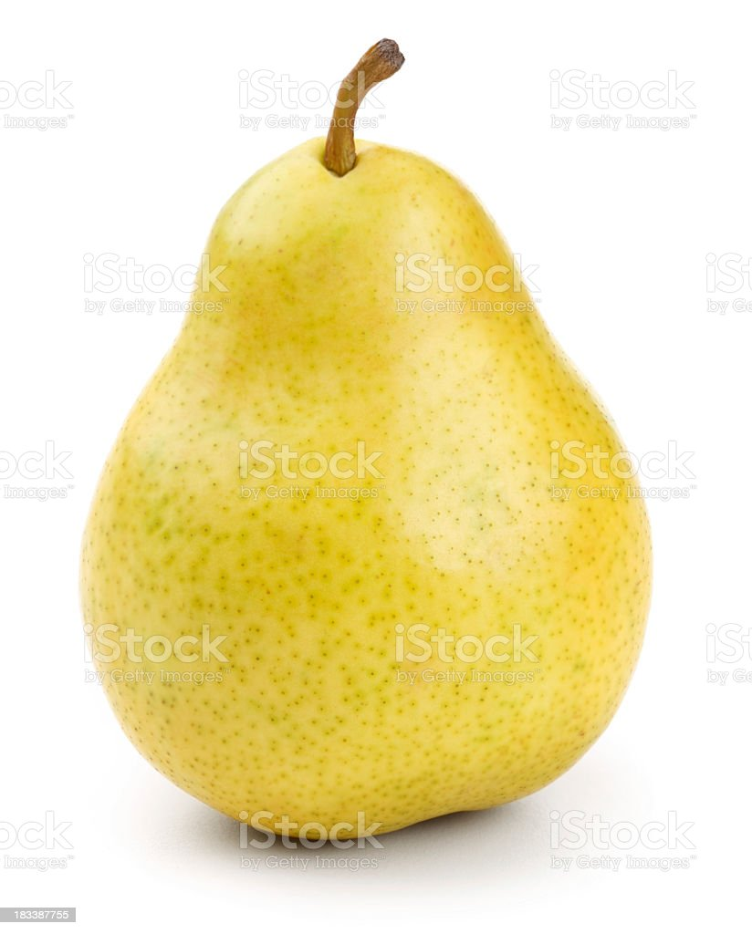 Close-up of a fresh yellow pear with clipping path stock photo