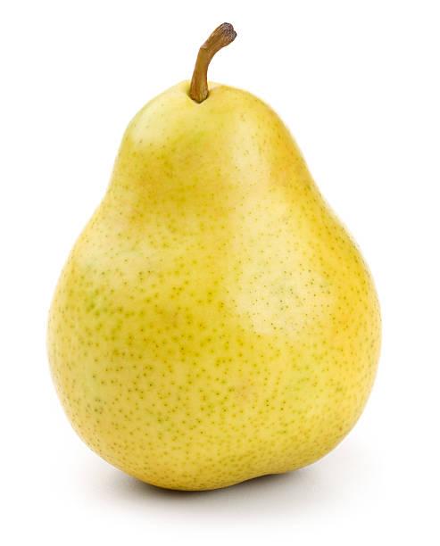 close-up di una pera gialla con clipping path - pera foto e immagini stock