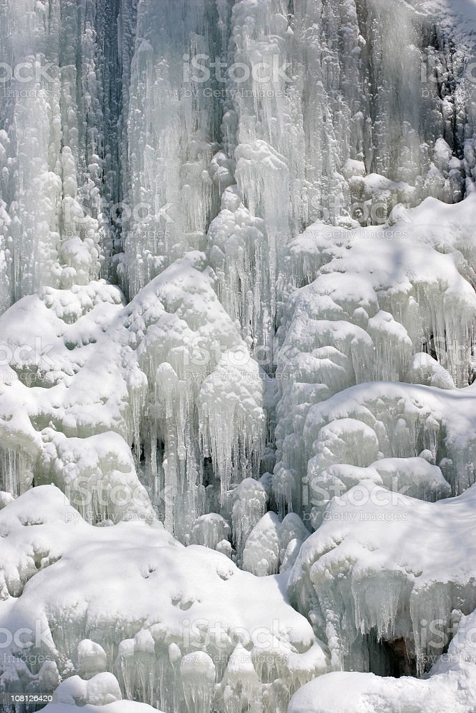 Close-up of a Frozen Waterfall royalty-free stock photo
