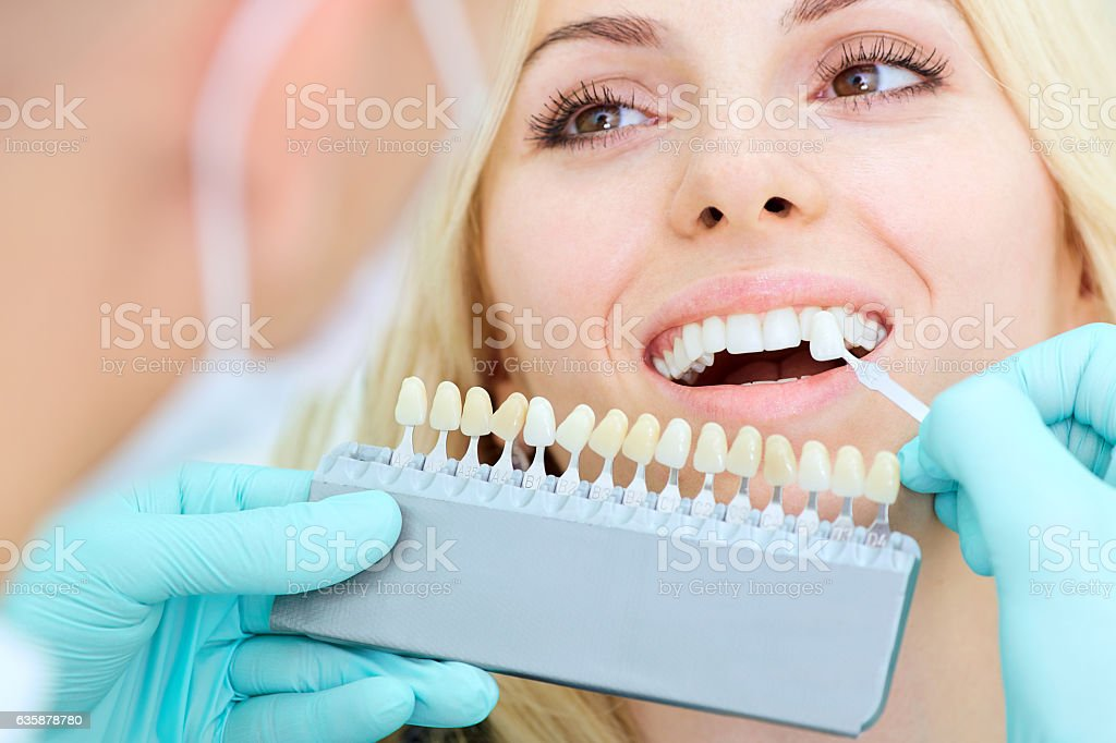 Closeup of a girl with beautiful smile at the dentist stock photo