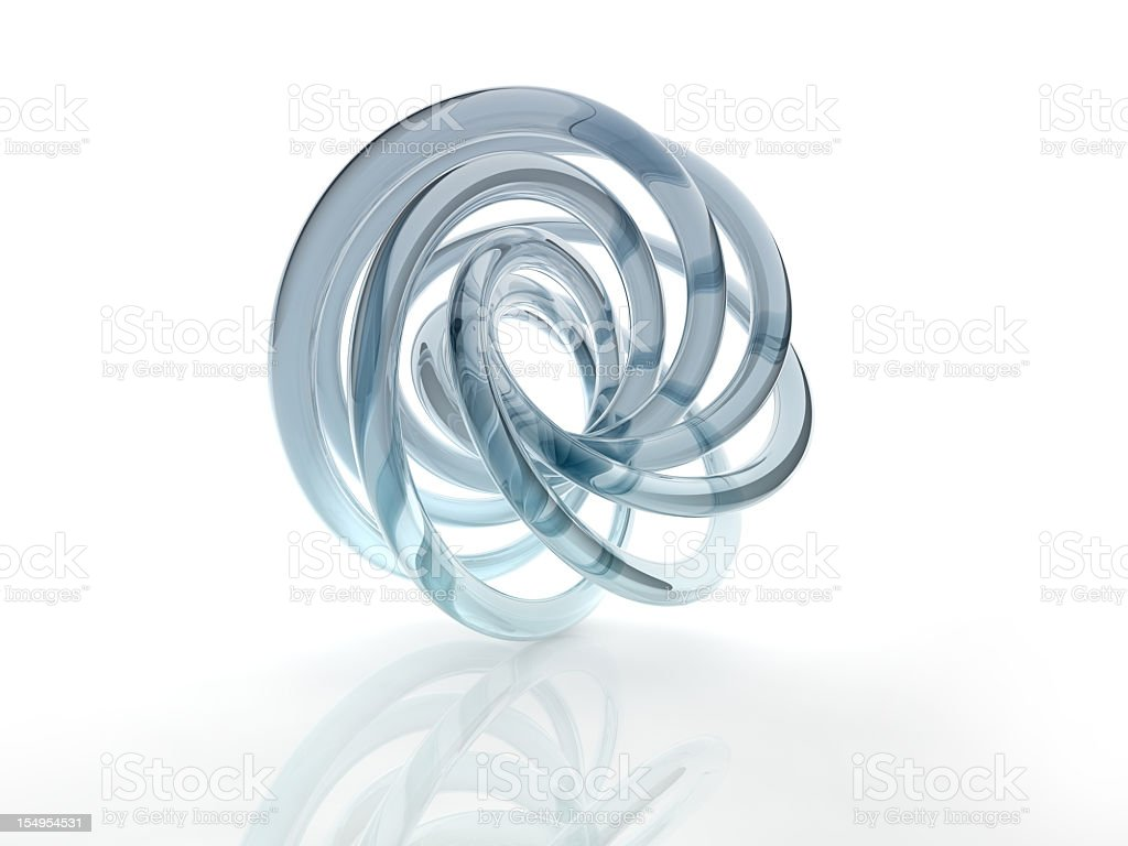 Close-up of a glass helix shape isolated on white stock photo