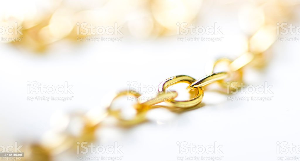 Closeup of a golden chain stock photo