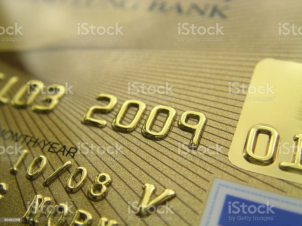 Close-up of a golden credit card's credentials on an angle royalty-free stock photo