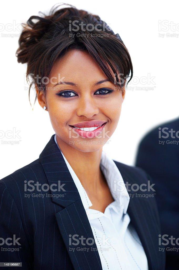 Close-up of a gorgeous young businesswoman smiling royalty-free stock photo
