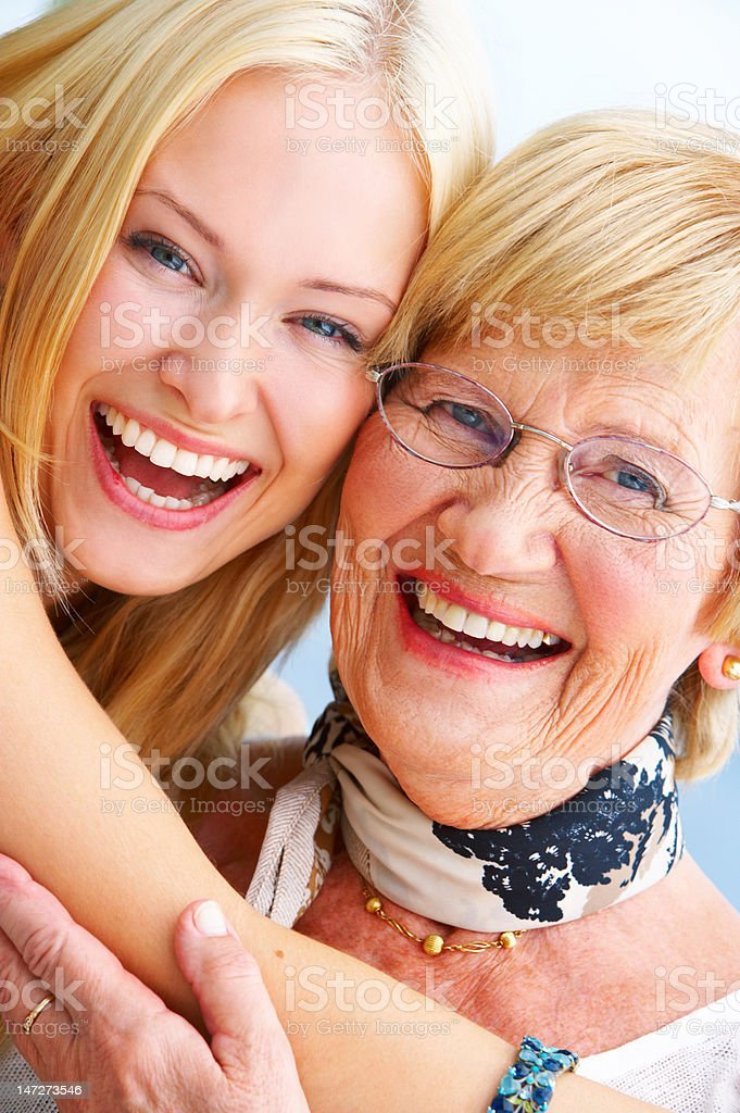 Close-up of a grandmother and granddaughter having fun royalty-free stock photo