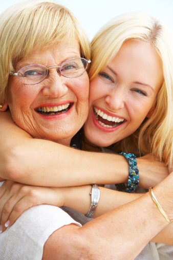 144362548 istock photo Close-up of a grandmother and granddaughter having fun 147273547