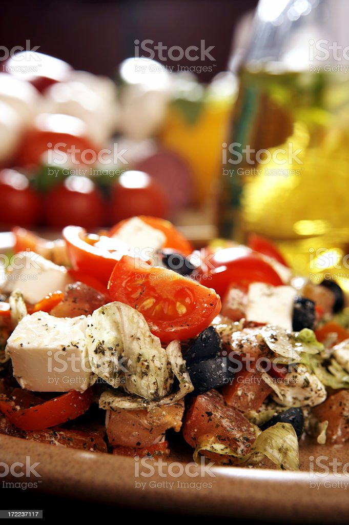 A close-up of a Greek salad on a plate royalty-free stock photo