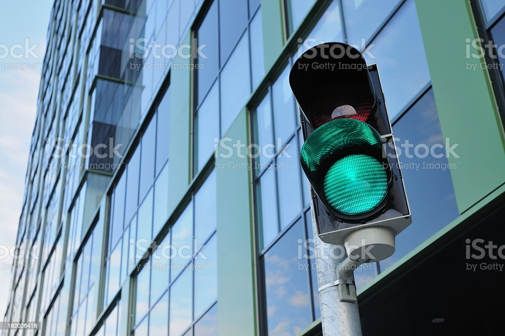 Close-up of a green traffic light stock photo