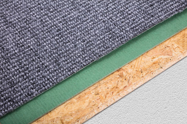 Close-up Of A Grey Carpet High Angle View Of A New Grey Carpet Corner padding stock pictures, royalty-free photos & images