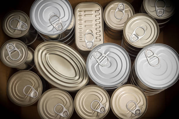 Closeup of a group of aluminium cans. stock photo