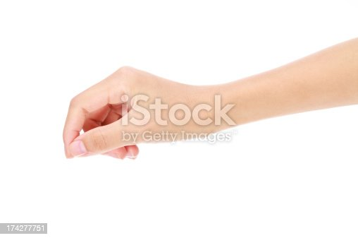 istock Close-up of a hand holding a virtual card gesture on white 174277751