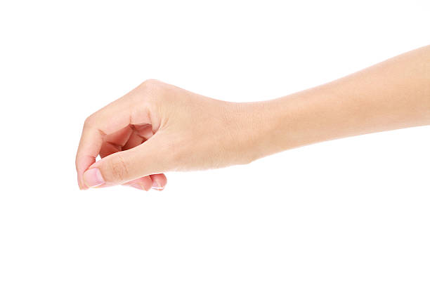 Close-up of a hand holding a virtual card gesture on white stock photo