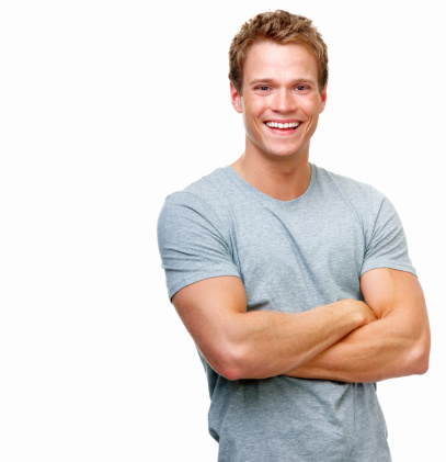 istock Close-up of a handsome young man smiling against white background 146836042