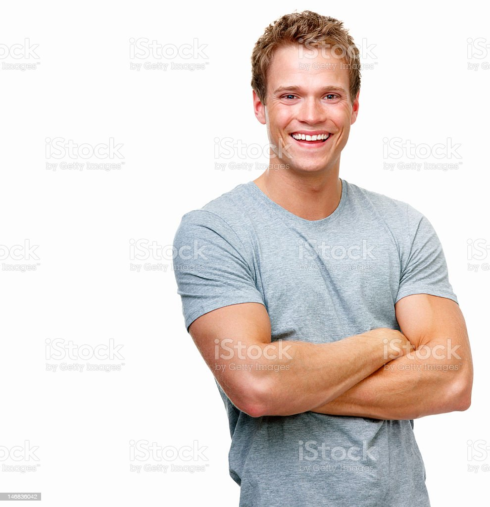 Close-up of a handsome young man smiling against white background stock photo