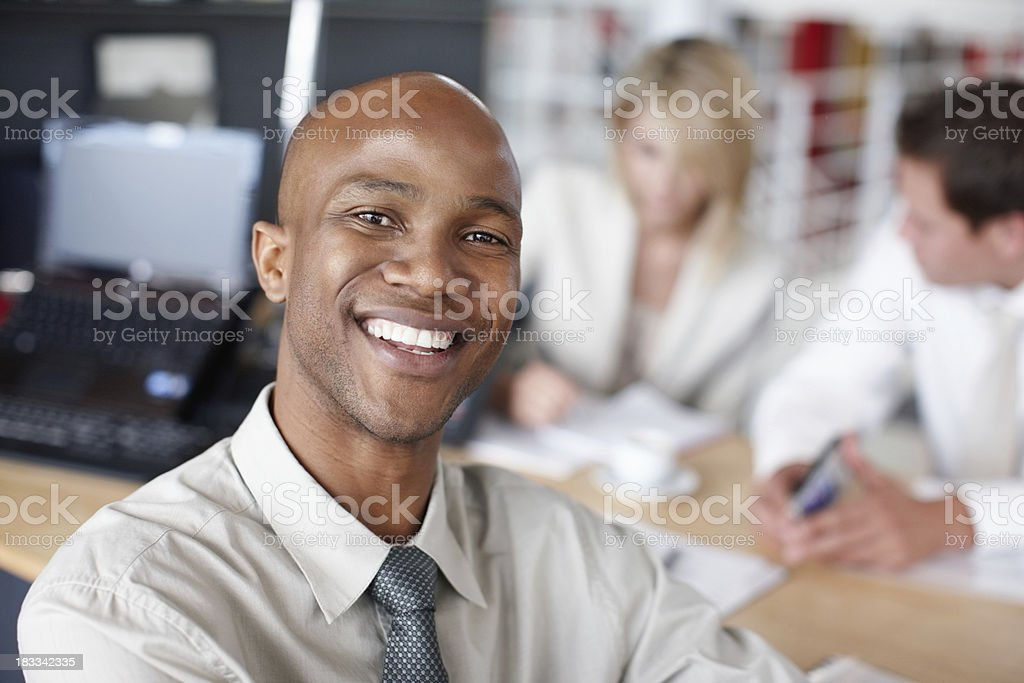 Closeup of a happy African American business man stock photo