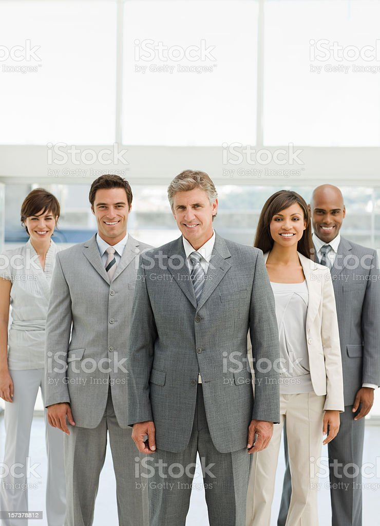 Closeup of a happy businesspeople royalty-free stock photo