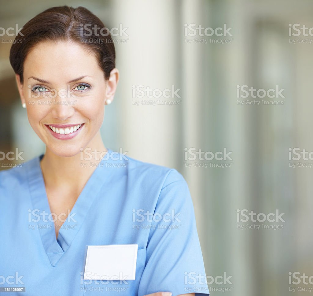 Close-up of a happy female nurse smiling royalty-free stock photo