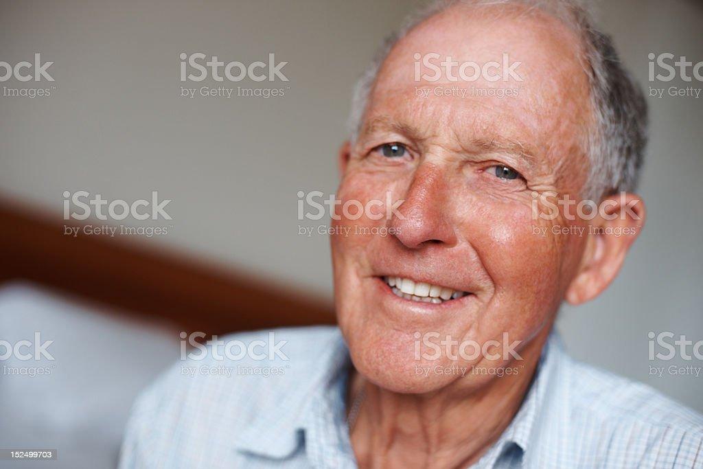 Close-up of a happy senior man stock photo