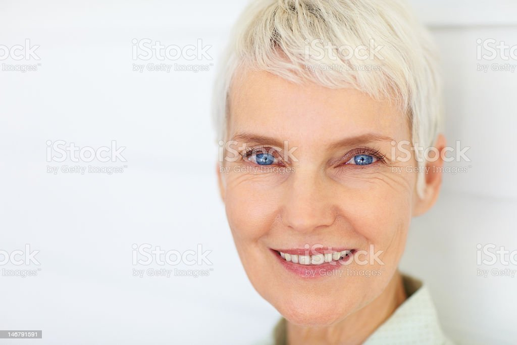 Close-up of a happy senior woman stock photo