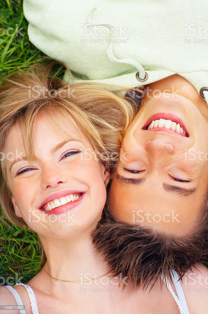 Close-up of a happy young couple royalty-free stock photo