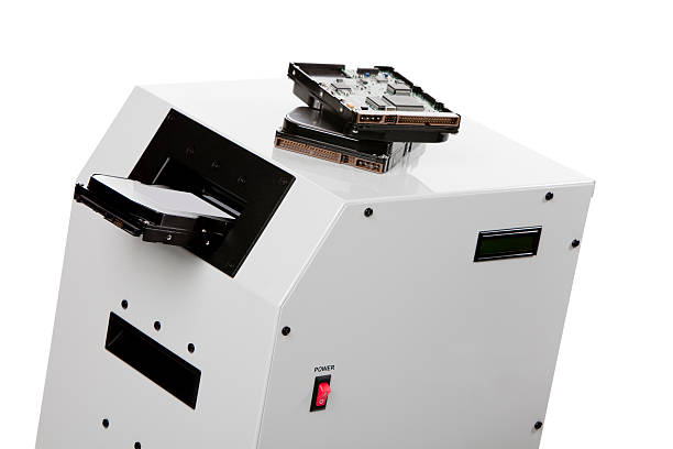 close-up of a hard disk destroyer machine - degauss stock pictures, royalty-free photos & images