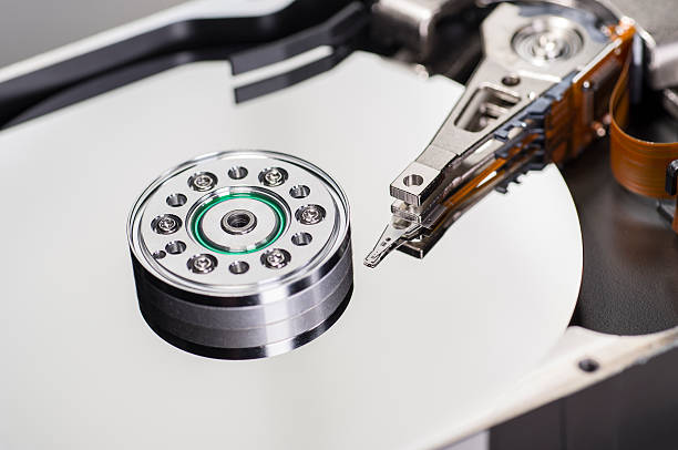 Close-up of a hard disk stock photo